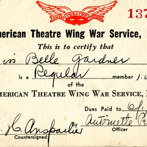 Isabella Gardner's American Theatre Wing War Service, Inc. identification card