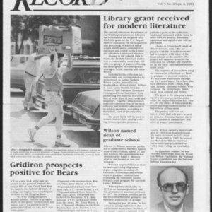 """Library Grant Received for Modern Literature"" from <em>Washington University Record</em>, Volume 9, Number 2, September 8, 1983"