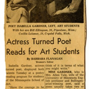 """Actress Turned Poet Reads for Art Students"" by Barbara Flanagan, circa 1961"