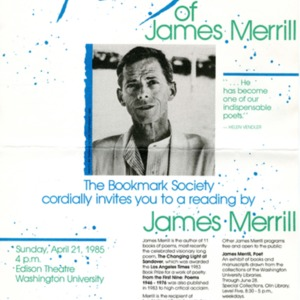 """Celebrating the Poetry of James Merrill"""