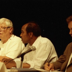 William Gass, Nuruddin Farah, and Steven Meyer at the Writer in Politics Conference