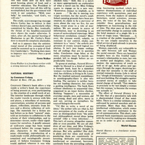 Muriel Haynes's review of <em>Natural History</em> by Muriel Haynes from the <em>Saturday Review</em>, July 19, 1969.
