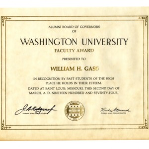 Washington University Alumni Board of Governors Faculty Award<br />