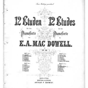 12 Etuden für das Pianoforte, op. 39. 12 etudes for the pianoforte. Book one