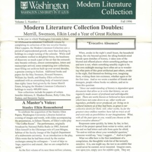 <em>Modern Literature Collection, </em>Special Collections, Washington University Libraries, Volume 2, Number 1 (Fall 1996)