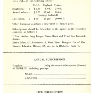 Subscription form for <em>Merlin</em>