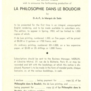 Prospectus for <em>La Philosophie Dans Le Boudoir</em> by Marquis De Sade published by Merlin in collaboration with the <em>Paris Quarterly</em>