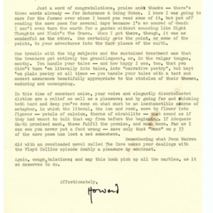 Typed letter, signed from Howard Nemerov to Donald Finkel, January 30, 1979