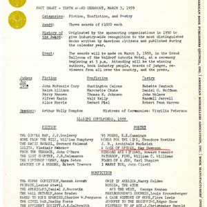 Fact sheet for the 1959 National Book Awards ceremony featuring May Swenson's nomination for the National Book Award for Poetry for <em>A Cage of Spines</em>.