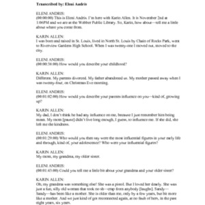 Allen, Karin Louise : Transcript