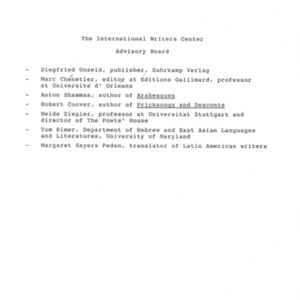International Writers Center official Advisory Board List