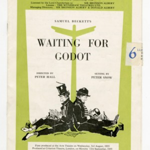 "<p class=""p1"">Playbill for <em>Waiting for Godot </em><span class=""Apple-converted-space"">&nbsp;</span></p>"