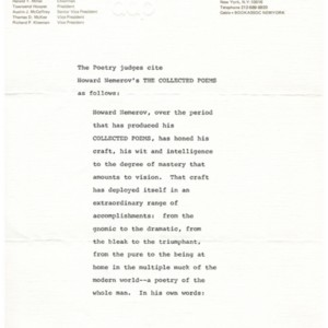 1978 National Book Award in Poetry citation for <em>The Collected Poems of Howard Nemerov</em> by Howard Nemerov