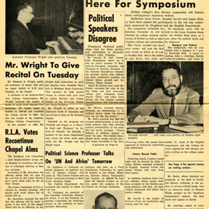 """Authors to Assemble Here for Symposium"" from <em>Hollins Columns</em>, October 20, 1960"