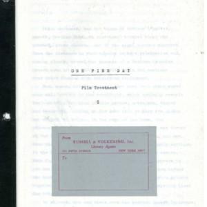 """One Fine Day"" film treatment by William Gaddis"