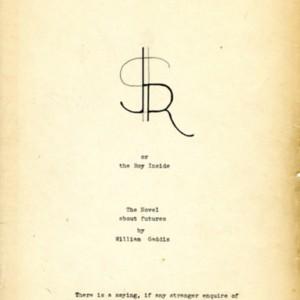 <em>J R</em> title page created by William Gaddis