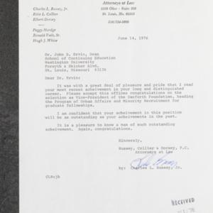 Letter from Charles L. Bussey, Jr. to Dr. John B. Ervin