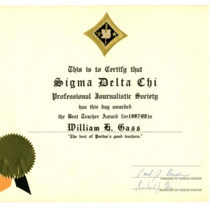 Sigma Delta Chi Professional Journalistic Society Best Teacher Award, 1967-1968