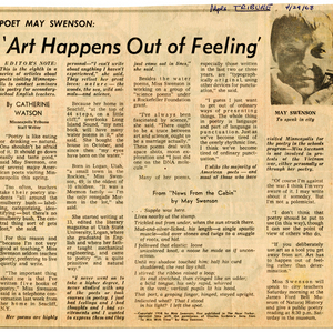 """Poet May Swenson: 'Art Happens Out of Feeling'"" by Catherine Watson from <em>Minneapolis Tribune</em>, April 29, 1968"