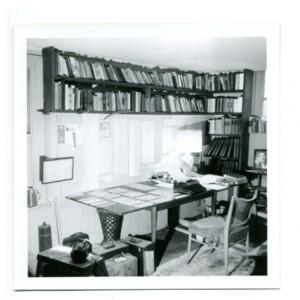 William Gaddis's garage workroom in Piermont, NY while working on <em>JR</em>
