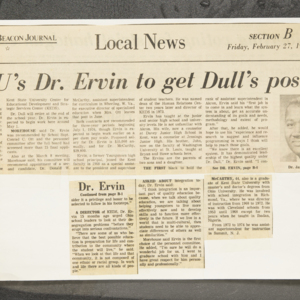 """KSU's Dr. Ervin to get Dull's post"""