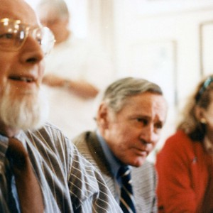Donald Barthelme, William Gaddis, and Muriel Oxenberg Murphy at a party celebrating William H. Gass's election to the American Academy and Institute of Arts and Letters, 1983