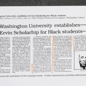 """Washington University establishes Ervin Scholarship for Black students"""