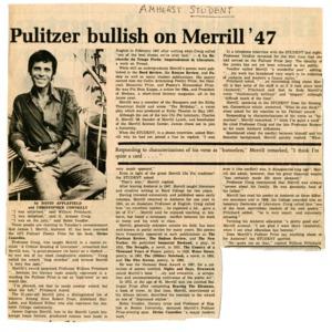 """Pulitzer Bullish on Merrill '47"" by David Applefield from the <em>Amherst Student</em>"