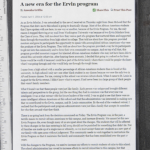 """A new era for the Ervin program"""