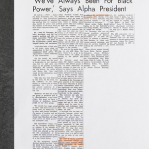 """'We've Always Been For Black Power,' Says Alpha President"""