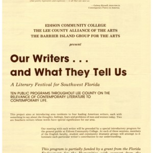 "Program for ""Our Writers…and What They Tell Us"" at Edison Community College, circa 1981-1982"