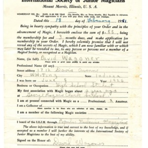 David Wagoner's application for membership in the International Society of Junior Magicians