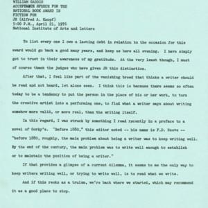 William Gaddis's acceptance speech for the National Book Award in Fiction for <em>JR</em>
