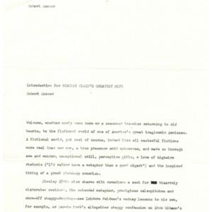"""Introduction for <em>Stanley Elkin's Greatest Hits</em>"" by Robert Coover"