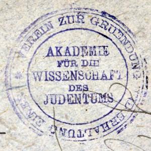 Bookstamp of Akademie für die Wissenschaft des Judentums