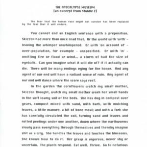 """The Apocalypse Museum"" - Printout Draft"
