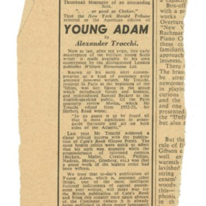 Advertisement for the William Heinemann Ltd edition of <em>Young Adam</em> by Alexander Trocchi