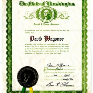 Certificate of Recognition on the Governor's Writer's Day from State of Washington Presented to David Wagoner