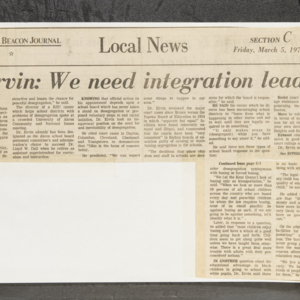 """Dr. Ervin: We need integration leaders"""