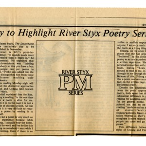 """WU Faculty to Highlight River Styx Poetry Series at Duff's"" by Pat Tybor from <em>Student Life</em>, September 7, 1984"