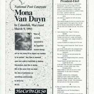 "Broadside advertisement for ""National Poet Laureate Mona Van Duyn in Columbia, Maryland on March 9, 1993"""
