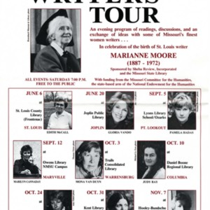 """Missouri Women Writers Tour"" in celecbration of the birth of Marianne Moore featuring Constance Urdang, Mona Van Duyn, Edith McCall, Gloria Vando, Pamela Hadas, Marilyn Cannaday, Judy Ray, Jane O. Wayne, and Alice Brand"
