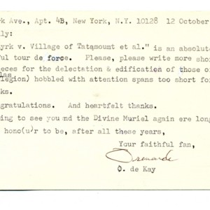 Typed card, signed from Ormonde de Kay to William Gaddis, October 12, 1987