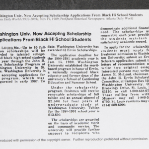 """Washington Univ. Now Accepting Scholarship Applications From Black Hi School Students"""