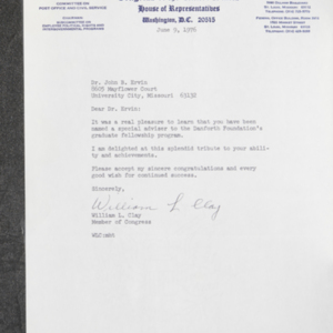 Letter from William L. Clay to Dr. John B. Ervin