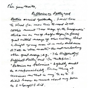 Autograph letter, signed from Allen Tate to Howard Nemerov, April 12, 1972