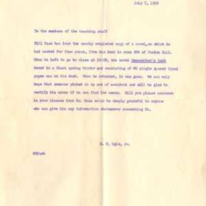 Letter from M.B. Ogle, Jr. Regarding Missing <em>Omensetter's Luck</em> Manuscript