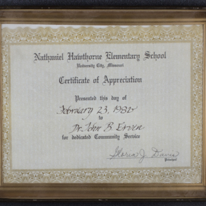 Nathaniel Hawthorne Elementary School Certificate of Appreciation