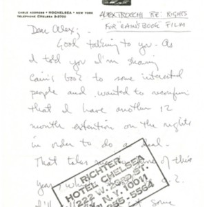 Autograph letter, signed from Daniel Richter to Alexander Trocchi, March 24, 1976
