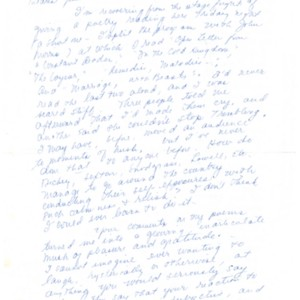 Autograph letter, signed from Mona Van Duyn to James Merrill, undated